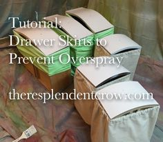 Minimize Overspray with DIY Drawer Skirts {by: The Resplendent Crow} #DIY #furnituremakeover #paintedfurniture