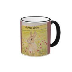 Cute Rabbit, wildflowers Ringer Mug