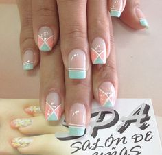 Uñas Glam Nails, Beauty Nails, My Nails, Smart Nails, Cute Nails, Geometric Nail, French Tip Nails, Finger, Cute Nail Designs