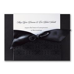 White cards are inserted into this ebony pocket and wrapped in love with an ebony satin ribbon. Black And White Wedding Invitations, Traditional Wedding Invitations, Beautiful Wedding Invitations, Laser Cut Invitation, Unique Wedding Invitations, Wedding Stationery, Unique Weddings, Marriage, Studio