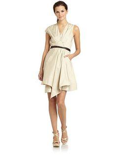 KaufmanFranco Belted Khaki Wrap Dress
