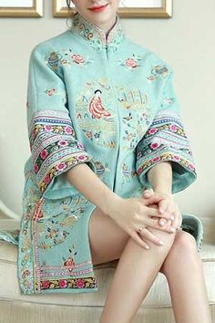 中国古画刺繍ウールジャケット