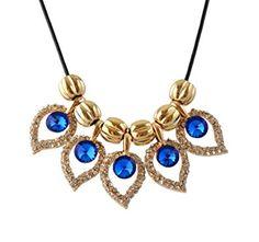 Collar de bronce y cristal azul diseño cola de pavo real