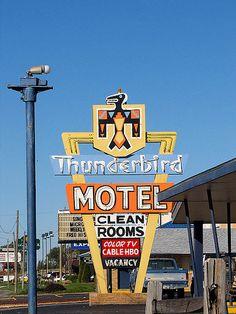 Thunderbird Motel - Dodge City, Kansas, via Flickr. Wonderful design!