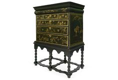 Antique chinoiserie-style chest on stand with seven drawers and brass hardware, 18th century.