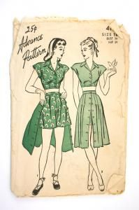 Advance 4161 Misses 1940s Playsuit Pattern Cropped Blouse Shorts [4161] - $5.00 : Vintage Sewing Patterns, Patterns For Sale