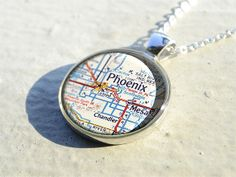 Phoenix map resin pendantMesa map necklace by resincherry on Etsy, $11.95