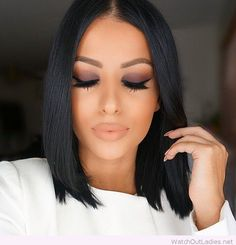 Black hair color and neutral makeup