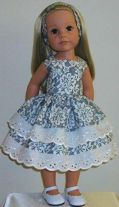 "roses & lace dress & alaice band made for 18"" Dolls Designafriend/Gotz hannah"