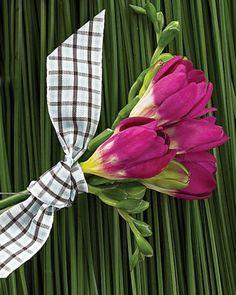 Freesia Boutonniere - Magenta freesia gathered with plaid ribbon.  (maybe white freesia?)