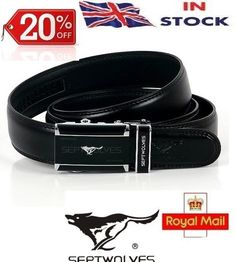 New-Mens Black Genuine Leather Belt With Free Gift Bag Automatic Buckle RRP £19