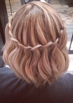Waterfall Braid short hair stylist: Lindsey Reese