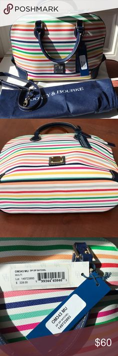 Dooney & Bourke Zip Zip Multicolor Satchel Great for Spring.  Includes dust bag and strap. Great condition, a few spots on the inside and wear on the handles. All shown in the pictures.  13in W 10in Tall Dooney & Bourke Bags Satchels
