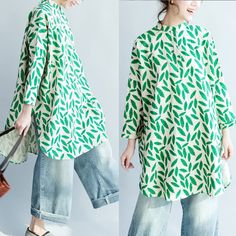 Floral Women Loose Linen Splitting Irregular Dress