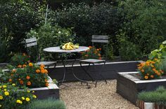 Contemporary Cottage Garden teak table and chairs - traditional - Landscape - Birmingham - Troy Rhone Garden Design Pea Gravel Garden, Pebble Garden, Gravel Patio, Small Backyard Patio, Gravel Driveway, Cement Patio, Wood Patio, Garden Edging, Garden Nook