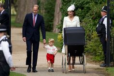 Kate Middleton and Prince William with Prince George and Princess Charlotte arrive at the Church of St Mary Magdalene