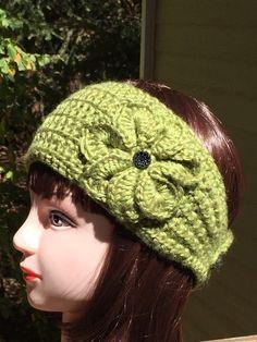 Teen/Women's Sage Green Crochet Headband/Ear by ThatsKnotLove