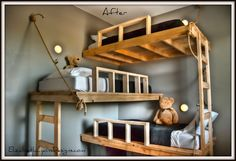 Triple bunk bed made with 2x4s