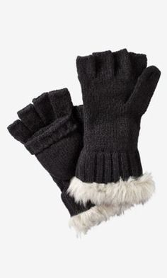 FAUX FUR CUFF FLIP TOP GLOVES from EXPRESS