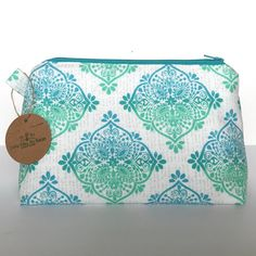 Zipper Pouch in Blue and White Canvas Makeup by LittleMissPoBean