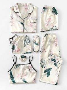 Shop Floral Print Cami Pajama Set With Shirt online. SheIn offers Floral Print Cami Pajama Set With Shirt & more to fit your fashionable needs. Satin Pyjama Set, Satin Pajamas, Pajama Set, Pyjamas, Cute Sleepwear, Loungewear, Sleepwear Women, Mode Outfits, Fashion Outfits