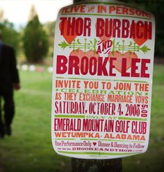 Concert poster invite option - also like the idea of full size replica at the wedding