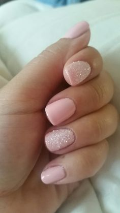 Gel pink nails sugar glitter