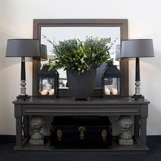 Console table and matching farrow and ball mirror - Margaret Boyd Grey Table Lamps, Interior Garden, Interior Design Inspiration, Interior Ideas, Formal Living Rooms, Beautiful Interiors, Interior Decorating, Room Decor, Table Decorations