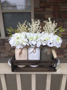 Mason jar centerpiece mason jar home decor mason jar planter box mason jar crate rustic decor wedding centerpiece mason jar table top Mason Jar Planter, Pot Mason Diy, Rustic Mason Jars, Mason Jar Centerpieces, Painted Mason Jars, Mason Jar Crafts, Wedding Centerpieces, Diy Hanging Shelves, Diy Wall Shelves