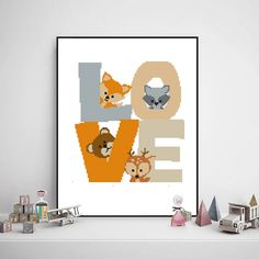 Excited to share the latest addition to my #etsy shop: Woodland animals love cross stitch forest baby deer bear raccoon fox kids girl boy nursery - Cross Stitch Pattern (Digital Format - PDF) https://etsy.me/2k1orgU