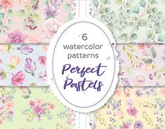 Pastel Watercolor, Watercolor Pattern, Graphic Patterns, Color Patterns, Wedding Clip, Pastel Flowers, Love Painting, One Design, Paper Design