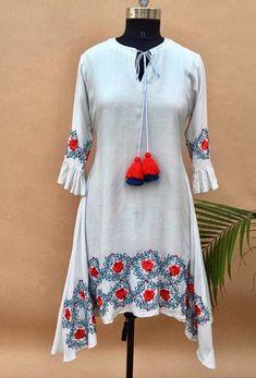 Beautiful Cotton embroidered tunic/Kurti. Tunic Designs, Kurta Designs Women, Indian Attire, Indian Wear, A Line Kurti, Indian Dresses, Pakistani Dresses, Types Of Dresses, Indian Designer Wear