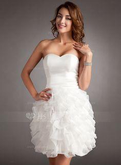 9814fab3ec  US  119.00  Sheath Column Sweetheart Short Mini Organza Homecoming Dress  With Cascading Ruffles - JJ s House. White Homecoming DressesGraduation ...