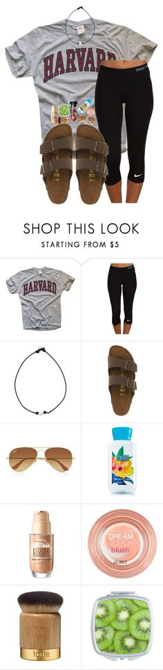 """""""casual outfit"""" by candicebauer ❤ liked on Polyvore featuring NIKE, Birkenstock, Ray-Ban, Maybelline and tarte"""