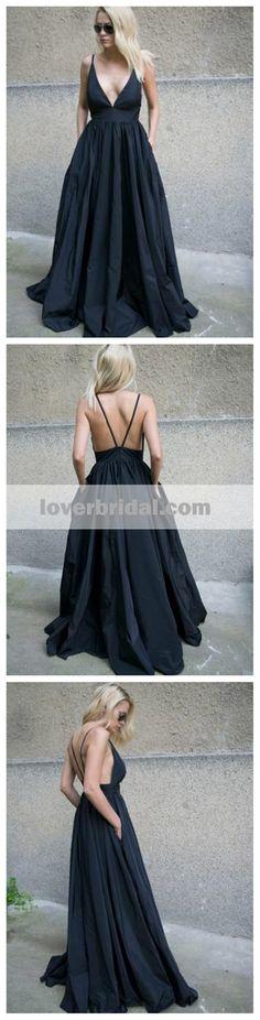 Black Sexy Backless Deep V Neck A-line Long Evening Prom Dresses, 17597