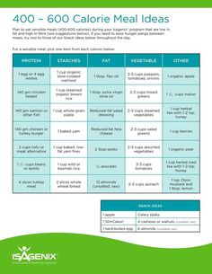 400-600 calorie meal ideas to go with your Isagenix meal plan