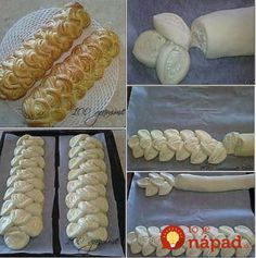 Pretty presentation for any rolled bread dough or pastry. Bread And Pastries, Bread Recipes, Cooking Recipes, Pastry Recipes, Decoration Patisserie, Bread Shaping, Bread Art, Braided Bread, Artisan Bread