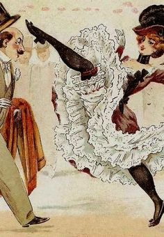 Moulin Rouge can can dancers, flipping their skirts to show garters & black stockings, perform on stage at the Moulin Rouge nightclub.  — pinterest.com