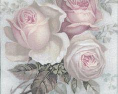 4 Decoupage Paper Napkins  Vintage Roses of Amour  by Chiarotino
