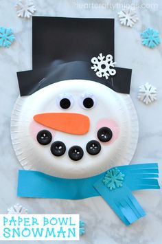 January is a perfect time to celebrate the winter season with fun winter arts and crafts activities like this super cute paper bowl snowman craft. The 3-D effect created by the paper bowl gives this darling snowman craft some extra charm. Kids will have a blast crafting up this cute paper bowl snowman craft. #wintercrafts #snowman #kidscrafts #kidcrafts #artsandcrafts #iheartcraftythings #winteractivitiesforkids