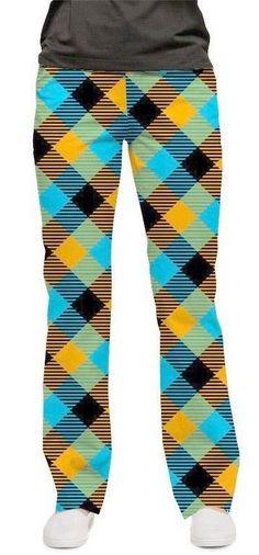 64.10$  Watch now - http://virnl.justgood.pw/vig/item.php?t=cvbh5h15686 - Loudmouth Golf Ladies Pants Microwave Check sz 4 NEW John Daly Orange Blue Black