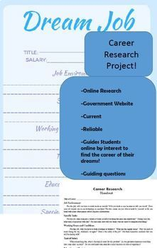 Students Will Be Researching Their Favorite Career On The Most Upated Career List Available Online Provided By The Go List Of Careers Dream Career Lesson Plans