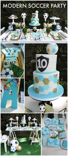 Love this clean and modern soccer birthday party! See more party ideas at CatchMyParty.com!