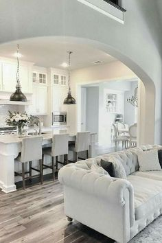4 Blessed Tips: Interior Painting Colors Grey living room paintings decor.Living Room Paintings Turquoise home interior painting. Living Room Kitchen, Living Room Decor, Kitchen Dining, Kitchen Decor, Kitchen Small, Kitchen White, Design Kitchen, White Kitchens, Kitchen Cupboards