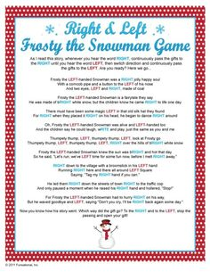 Gift Exchange - Right & Left Frosty the Snowman Game by pat-75