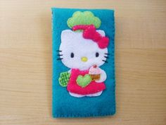 iphone case- ipod touch case - cell phone - ipod - Hello kitty cooking felt case.