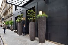 Hotel Marignan, Paris – Atelier Vierkant planters - made from moulds (outdoor flower planters concrete pots)