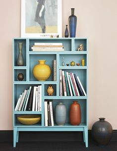 Take the existing shelves out of a bookcase and put in your own design - individual and practical! Repurposed Furniture, Painted Furniture, Furniture Makeover, Diy Furniture, Diy Casa, Old Dressers, Dresser Drawers, Bookshelves, Bookcase Makeover