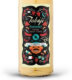 "Tokaji ""festival wine"" labels by Dora Novotny, via Behance"