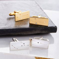 Personalised Constellation Cufflinks. Stunning gold or silver constellation cuff links hand made by Ghazal and her talented team of jewellers.
